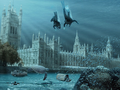 global warming effects, london flooded