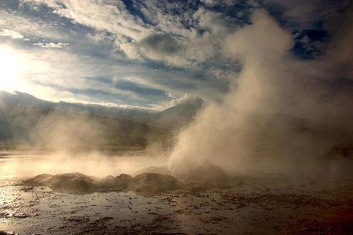 water vapor, geyser